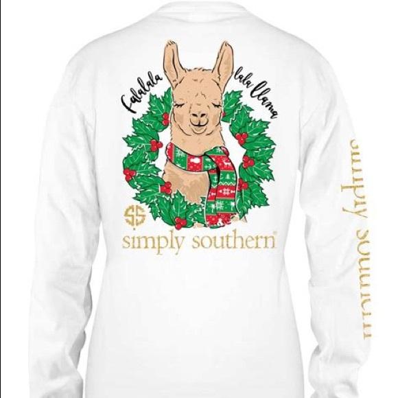 Llama Christmas Shirt.Simply Southern Llama Christmas Shirt Nwt